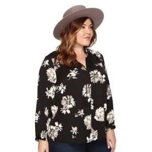 Lucky Brand Women's Plus Keyhole Floral Blouse